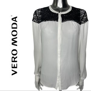 Vero Moda White Blouse Black Lace Yoke Pleat Back